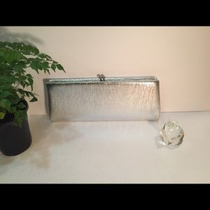 Silver Vintage Clutch Snap Closure Retro And Fun
